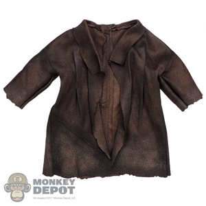 Coat: Hot Toys Mens Brown Leather-Like Coat
