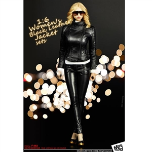 Clothing Set: Magic Cube Women's Black Leather Jacket Set (MCF-062)