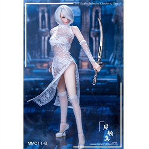 Outfit Set: ManModel MISS 2B's Lace Cheongsam Set in White (MM-011B)