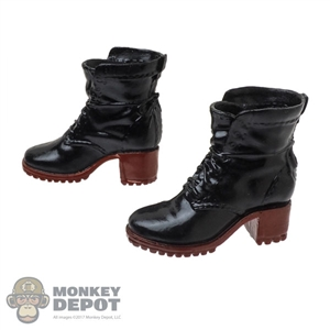Boots: ManModel Female Black & Red Molded Boots