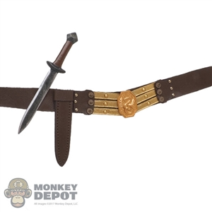 Belt: Mr. Toys Mens Brown Leather-Like Belt w/Metal Dagger