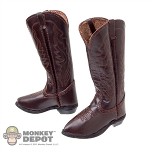 Boots: Newline Miniatures Cordovan Brown Cowboy Boots