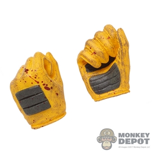 Hands: TBLeague Female Blood Splattered Yellow Molded Gloved Hands (Holding)
