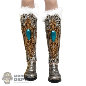 Boots: TBLeague Female Silver + Gold Boots w/Fur Leg Sleeves