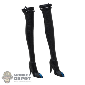 Boots: TBLeague Female Black Leather-Like Boots