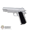 Pistol: Play Toy Chrome 1911 w/Black Grips