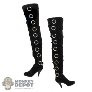 Boots: Play Toy Soft Upper Thigh Female Black Boots w/Ankle Pegs