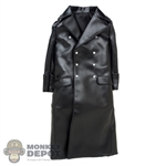 Coat: Toys City German Long Black Leatherlike Jacket