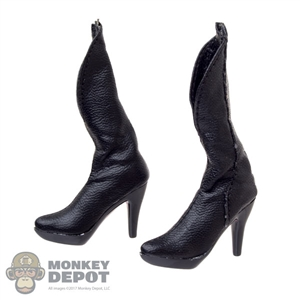 Boots: Very Cool Female Black Leatherlike Boots