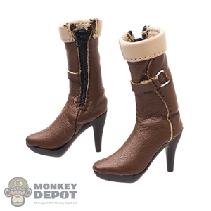Boots: Very Cool Female Brown Leatherlike Boots w/Feet