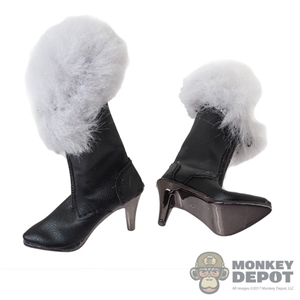 Boots: Very Cool Female Black High Heeled Fur Boots