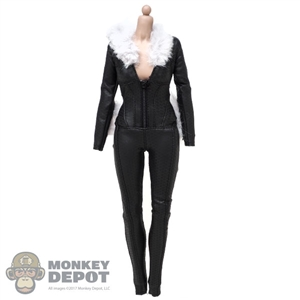 Suit: Very Cool Female Black Leather-Like Body Suit