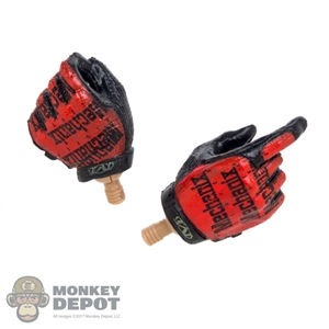 Hands: Very Hot Red & Black Molded Gloves w/Pegs