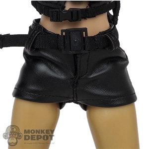 Shorts: VS Toys Female Black Leather-Like Shorts w/Belt