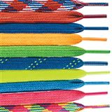 "Bright, beautiful shoelaces for shoes or necklaces. 36"" long. 10 color choices: patriotic plaid, red, blue, neon orange, lime green, blue/lime plaid, neon yellow, light blue, hot pink and rainbow plaid."
