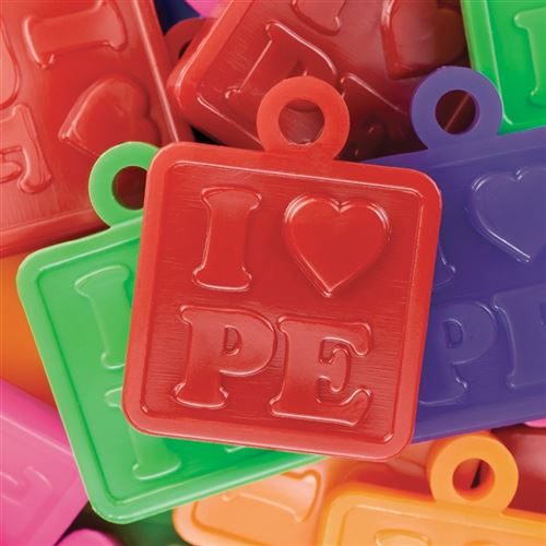 "Rounded square token for children that says ""I ♥︎ P.E."" A great physical education award for children. 7 assorted colors."