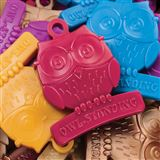 "Owl-shaped student achievement award with ""Owl-Standing"" inscription. 7 assorted colors."