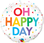 "Qualatex 10200 18"" ROUND OH HAPPY DAY"