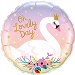 "18"" ROUND OH A LOVELY DAY SWAN FOIL"