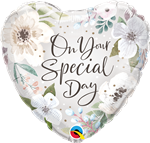 Qualatex 10489 Special Day White Floral Foil