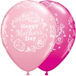 "11"" MOTHER'S DAY FLORAL DAMASK LATEX (25 PER BAG)"