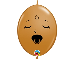 "6"" Quicklink Mocha Sleeping Pacifier Baby Face Lat"