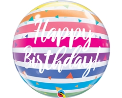 13037 Qualatex Single Bubble Birthday Bright Rainb