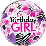 Single Bubble Birthday Zebra Girl