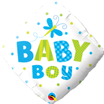 "18"" BABY BOY DOTS & DRAGONFLY FOIL"