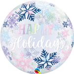 Qualatex 14834 Bubble Happy Holidays Snowflakes