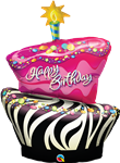 "41"" SHAPE BIRTHDAY ZEBRA STRIPE CAKE FOIL"