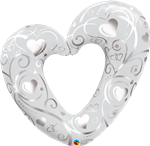 "Qualatex 16304 42"" HEARTS & FILIGREE FOIL"