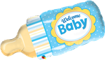 "39"" WELCOME BABY BOTTLE BLUE FOIL"