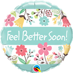 "18"" ROUND FEEL BETTER SOON! FLORAL FOIL BALLOON"