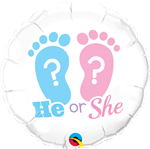 "18"" ROUND HE OR SHE? FOOTPRINTS FOIL BALLOON"