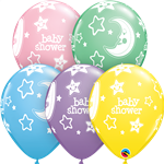 "11"" RETAIL LATEX BABY SHOWER MOONS & STARS (6 BAGS OF 6 BALLOONS PER BAG)"
