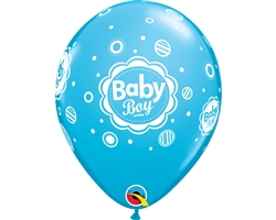 "11"" RETAIL LATEX BABY BOY DOTS (6 BAGS OF 6 BALLOONS PER BAG)"