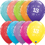 "11"" RETAIL LATEX AGE 13/TROPICAL (6 BAGS OF 6 BALLOONS PER BAG)"