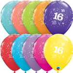 "11"" RETAIL LATEX AGE 16/TROPICAL (6 BAGS OF 6 BALLOONS PER BAG)"