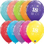 "11"" RETAIL LATEX AGE 18/TROPICAL (6 BAGS OF 6 BALLOONS PER BAG)"