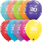 "11"" RETAIL LATEX AGE 20/TROPICAL (6 BAGS OF 6 BALLOONS PER BAG)"