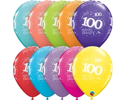 "11"" RETAIL LATEX AGE 100/TROPICAL (6 BAGS OF 6 BALLOONS PER BAG)"