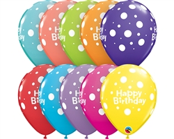 "11"" RETAIL LATEX BIRTHDAY BIG POLKA DOTS (6 BAGS OF 6 BALLOONS PER BAG)"