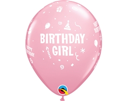 "11"" RETAIL LATEX BIRTHDAY GIRL (6 BAGS OF 6 BALLOONS PER BAG)"
