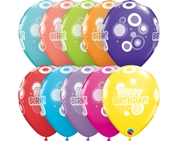 "11"" RETAIL LATEX BIRTHDAY DOTS & GLITZ/TROPICAL (6 BAGS OF 6 BALLOONS PER BAG)"