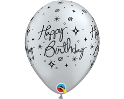 "11"" RETAIL LATEX BIRTHDAY ELEGANT SILVER (6 BAGS OF 6 BALLOONS PER BAG)"