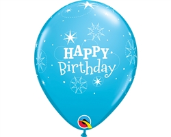 "11"" RETAIL LATEX BIRTHDAY SPARKLE/ROBIN'S EGG (6 BAGS OF 6 BALLOONS PER BAG)"