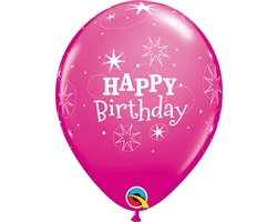 "11"" RETAIL LATEX BIRTHDAY STAR WILD BERRY (6 BAGS OF 6 BALLOONS PER BAG)"
