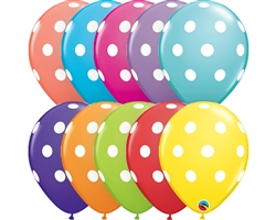 "11"" RETAIL LATEX BIG POLKA DOTS/TROPICAL (6 BAGS OF 6 BALLOONS PER BAG)"