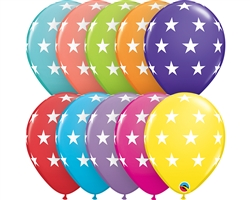 "11"" RETAIL LATEX BIG STARS/TROPICAL (6 BAGS OF 6 BALLOONS PER BAG)"